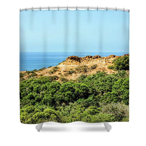 Torrey Pines California - Chaparral On The Coastal Cliffs Shower Curtain