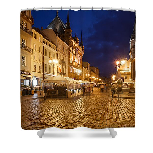 Torun Old Town Market Square At Night Shower Curtain