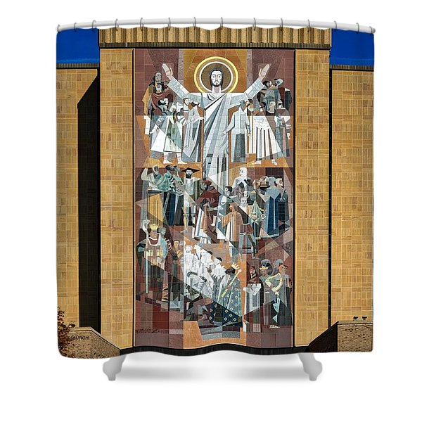 Touchdown Jesus - Hesburgh Library Shower Curtain