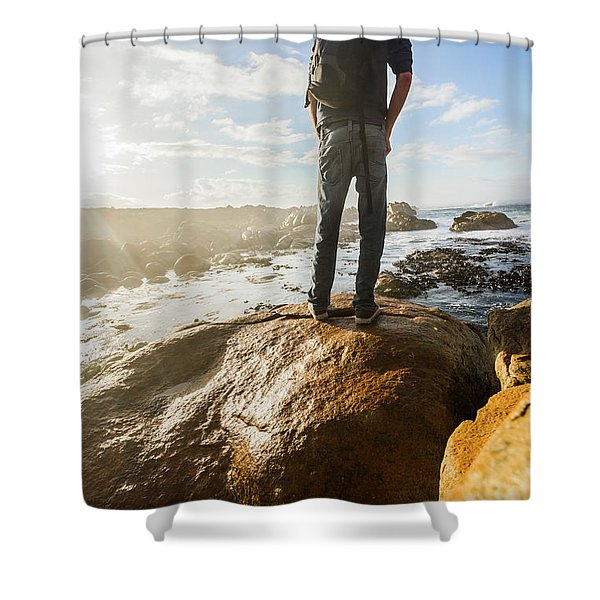 Tourist Looking At The Ocean Shower Curtain