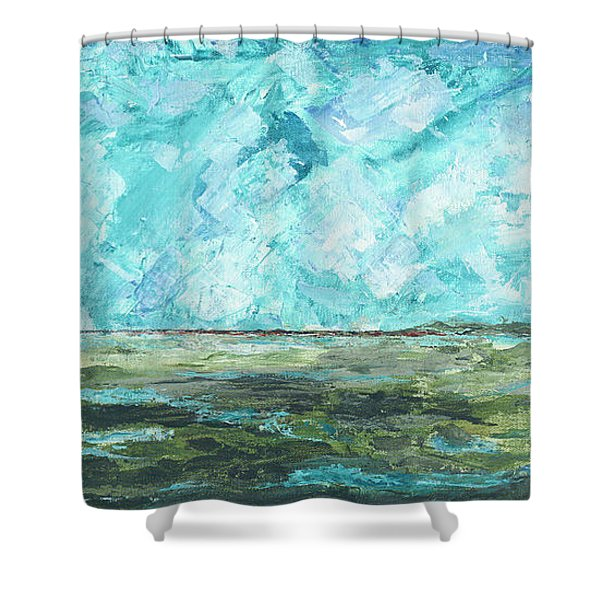 Shower Curtain featuring the painting Toward Pinckney Island by Kathryn Riley Parker