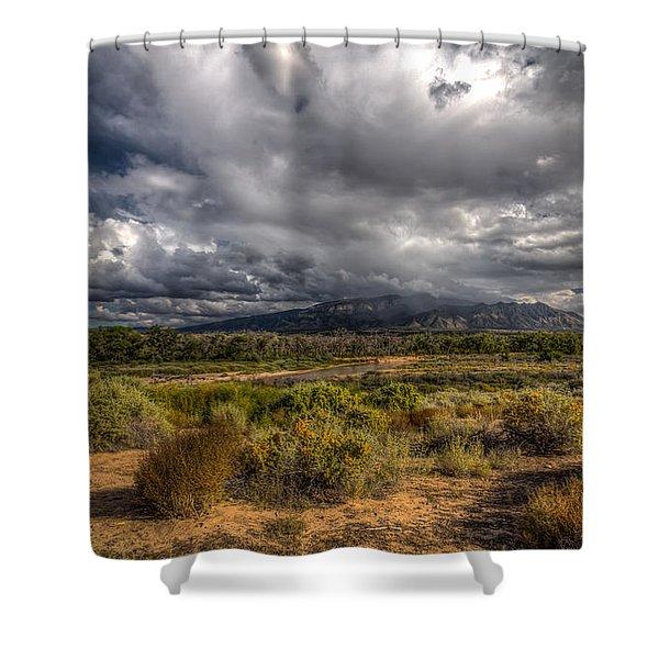 Towards Sandia Peak Shower Curtain