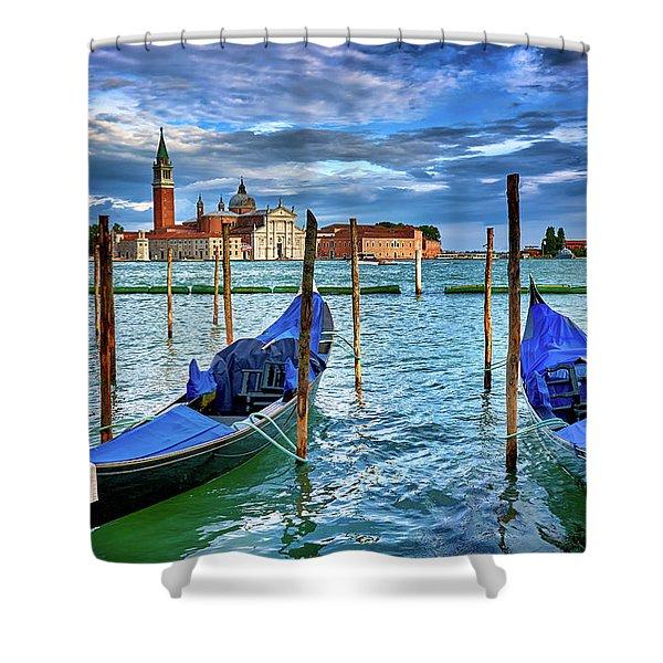Gondolas And San Giorgio Di Maggiore In Venice, Italy Shower Curtain