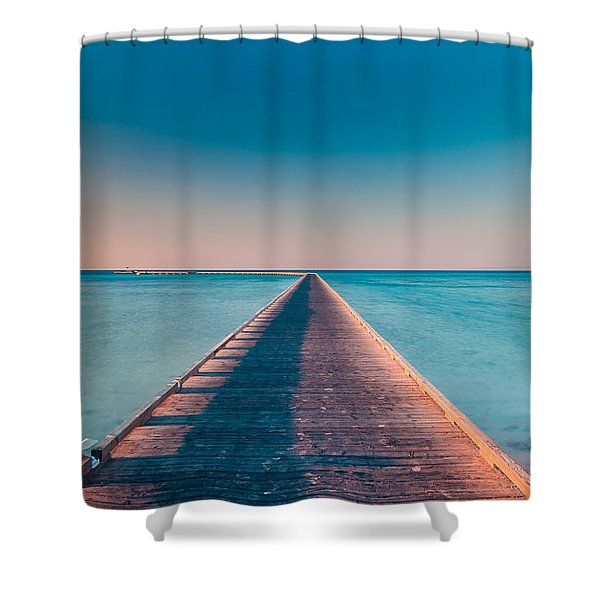 Towards The Sunshade At The Sea Shower Curtain