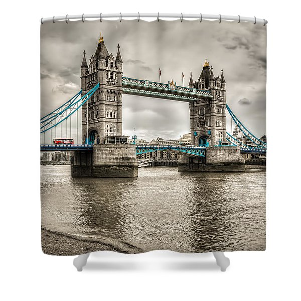 Tower Bridge In London In Selective Color Shower Curtain
