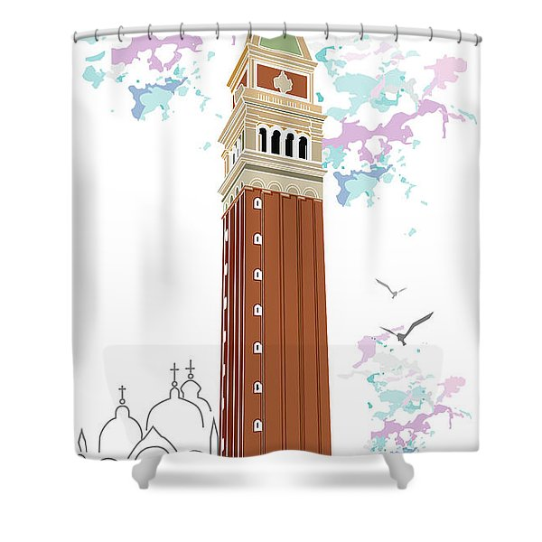 Tower Of Campanile In Venice Shower Curtain