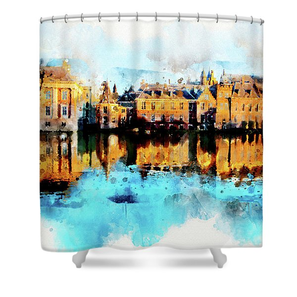 Town Life In Watercolor Style Shower Curtain