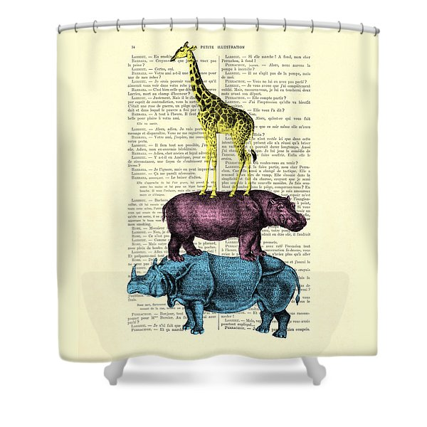 Safari Animals Town Musicians Of Bremen Parody Shower Curtain