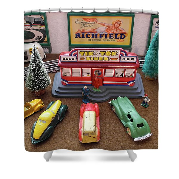 Toytown - Tik Tok Diner Shower Curtain