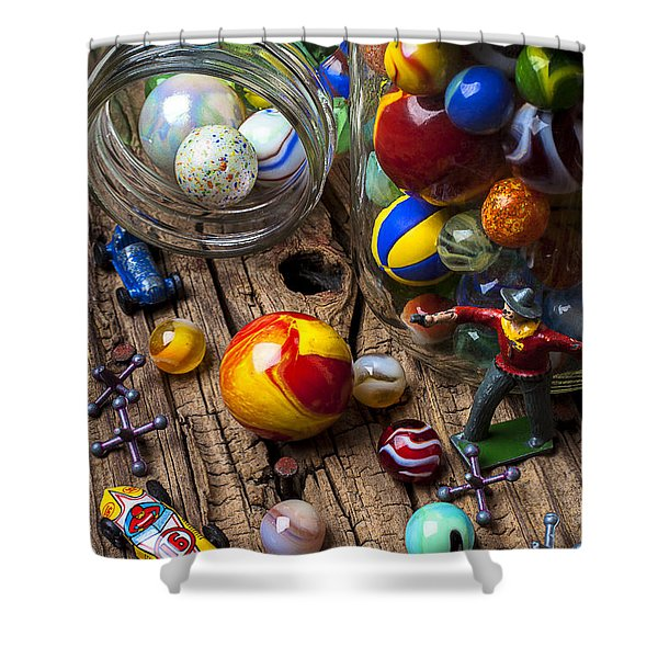 Toys And Marbles Shower Curtain