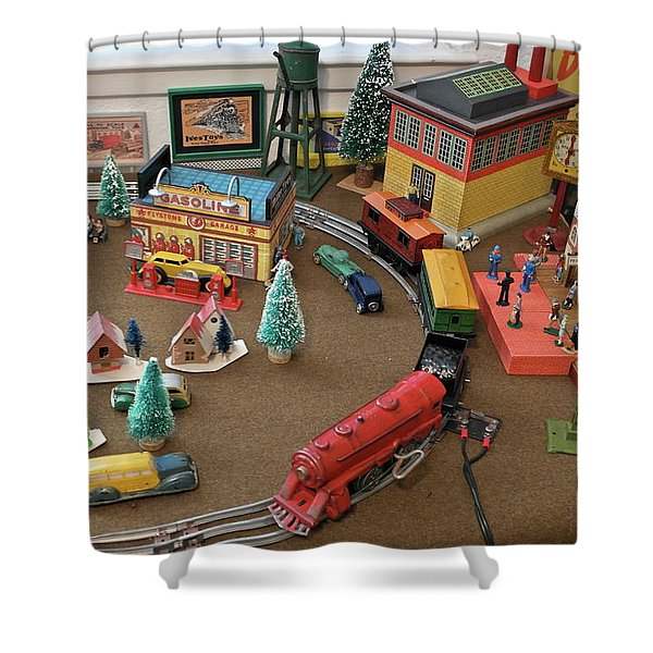 Toytown - Train Set Overview Shower Curtain
