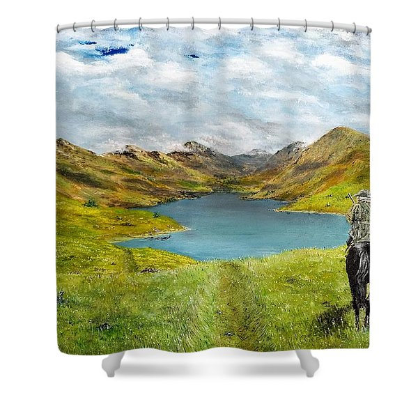 Shower Curtain featuring the painting Tracking Niseag by Kevin Daly