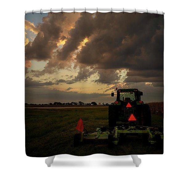 Tractor At Sunrise - Chester Nebraska Shower Curtain