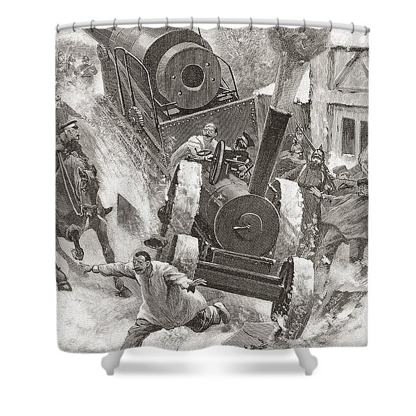 Tractor Hauling Cannon In Late 19th Shower Curtain