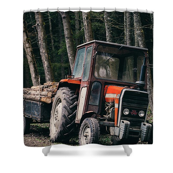 Tractor In The Forest Shower Curtain