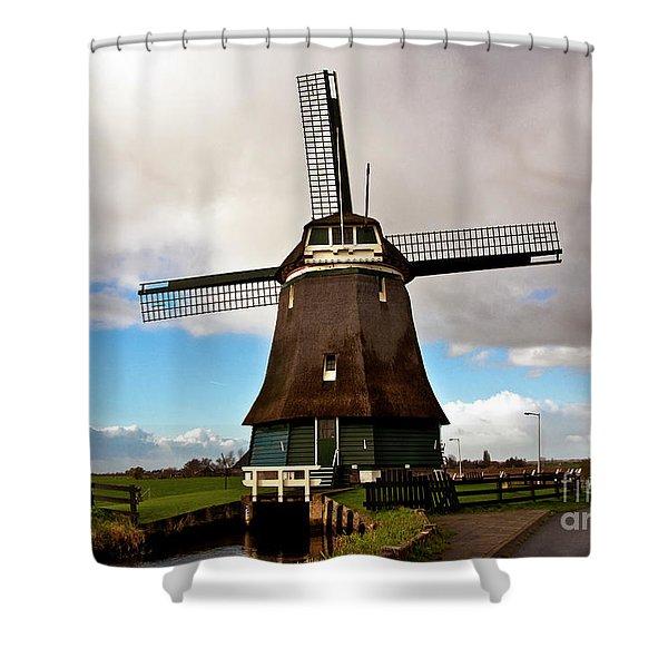 Traditional Dutch Windmill Near Volendam  Shower Curtain