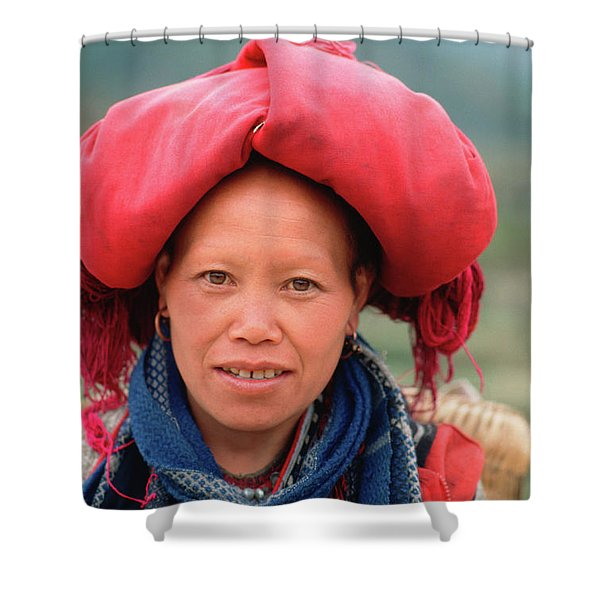 Shower Curtain featuring the photograph Traditional Fashion Of A Red Dzao Woman by Silva Wischeropp