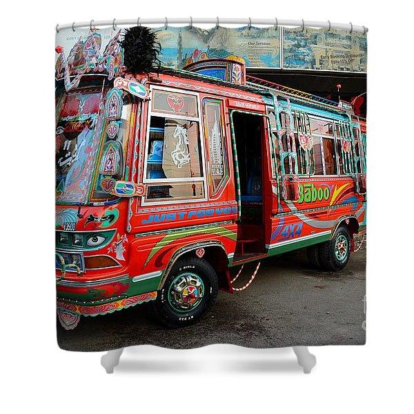 Traditionally Decorated Pakistani Bus Art Karachi Pakistan Shower Curtain