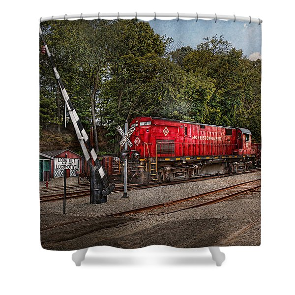 Train - Diesel - Look Out For The Locomotive Shower Curtain by Mike Savad