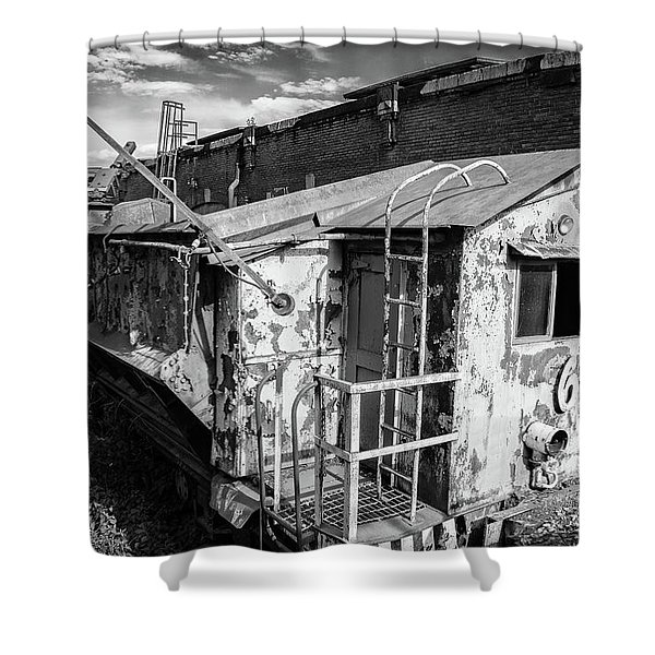 Train 6 In Black And White Shower Curtain