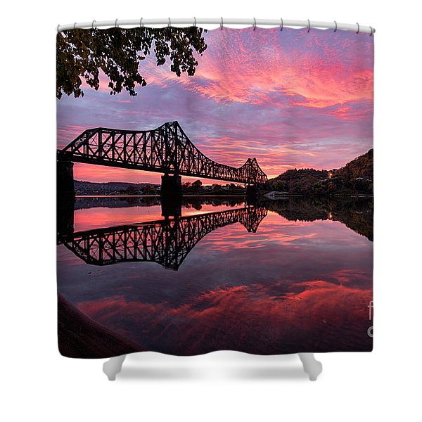 Train Bridge At Sunrise  Shower Curtain