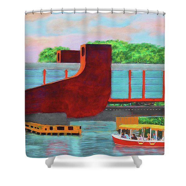 Train Over The New River Shower Curtain