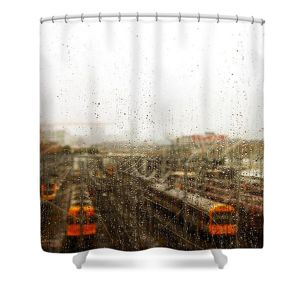 Train In The Rain Shower Curtain