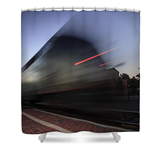 Train Pulling Out Of The Station Shower Curtain