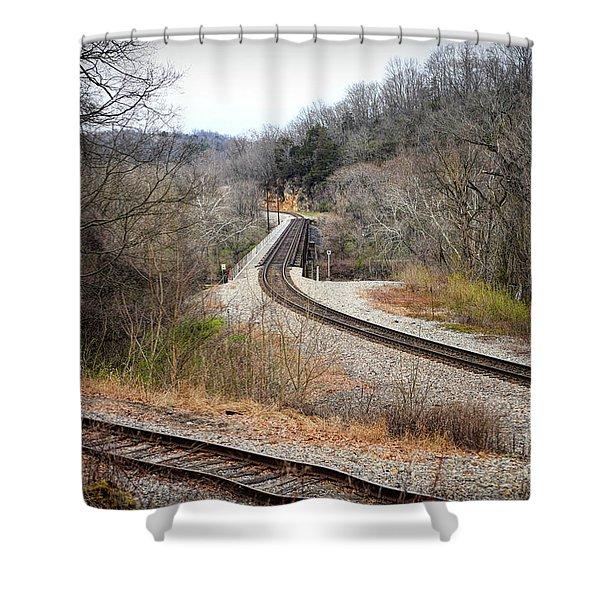 Train Tracks Across The New River - Radford Virginia Shower Curtain
