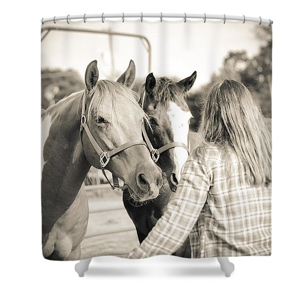 Training The Horses In Sepia Shower Curtain