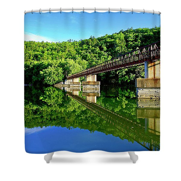 Tranquility At The James River Footbridge Shower Curtain