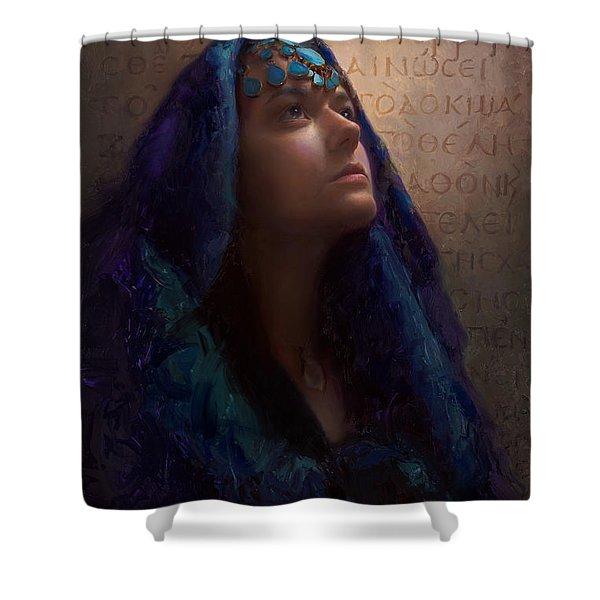 Transformation - Woman With Romans 12 2 Written In Original Greek  Shower Curtain