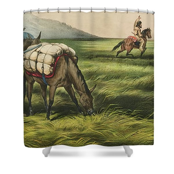 Trappers On The Prairie  Peace Or War Shower Curtain