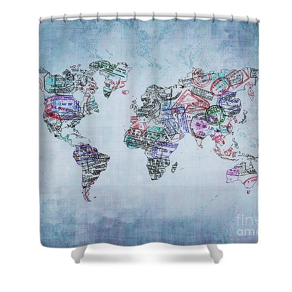 Traveler World Map Blue 8x10 Shower Curtain