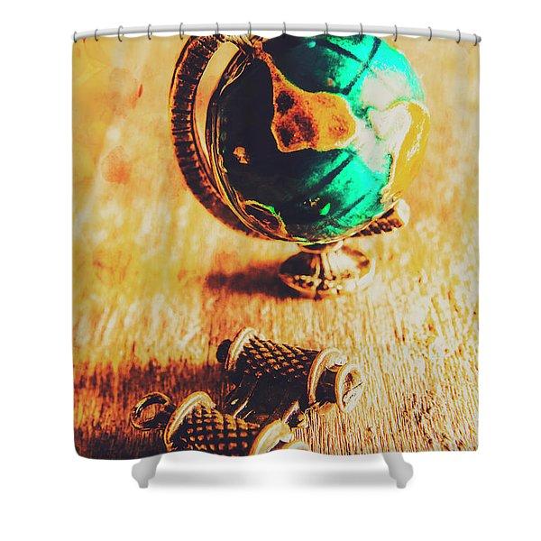 Travellers Globe Shower Curtain