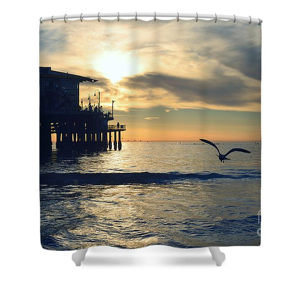 Seagull Pier Sunrise Seascape C1 Shower Curtain