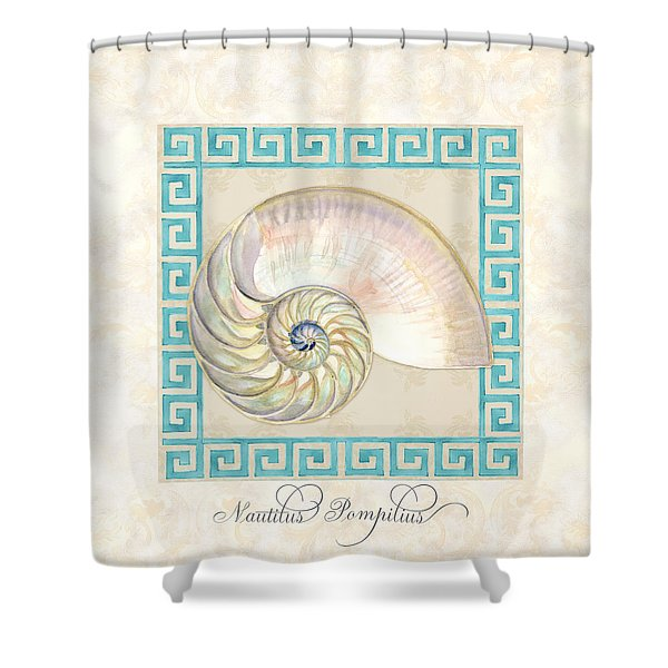 Treasures From The Sea - Nautilus Shell Interior Shower Curtain