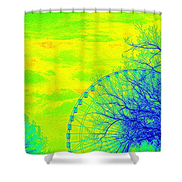 Tree And Ferris Wheel  Shower Curtain
