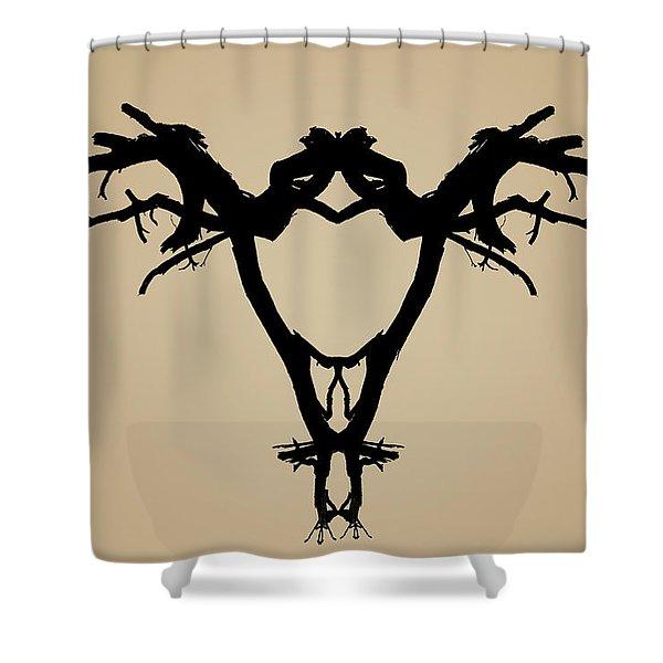 Tree Bird Toned Shower Curtain
