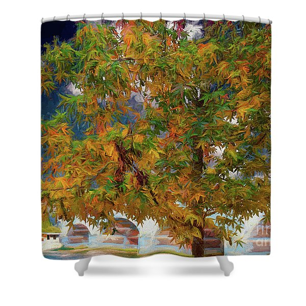 Tree By The Bridge Shower Curtain