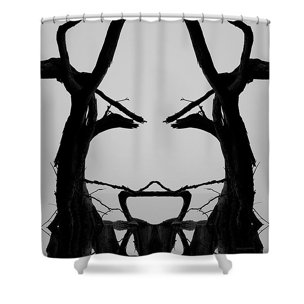 Tree Face I Bw Sq Shower Curtain