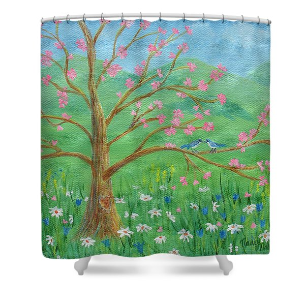 Shower Curtain featuring the painting Tree For Two by Nancy Nale