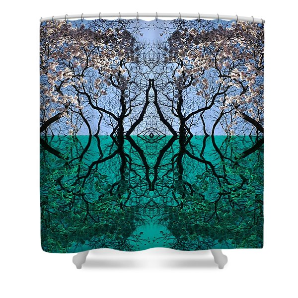 Tree Gate Between Water And Sky Worlds Shower Curtain