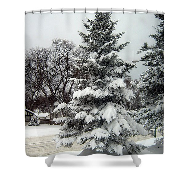 Tree In Snow Shower Curtain