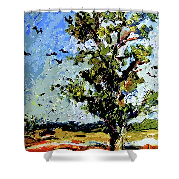 Tree In Summer Sun Mixed Media Shower Curtain