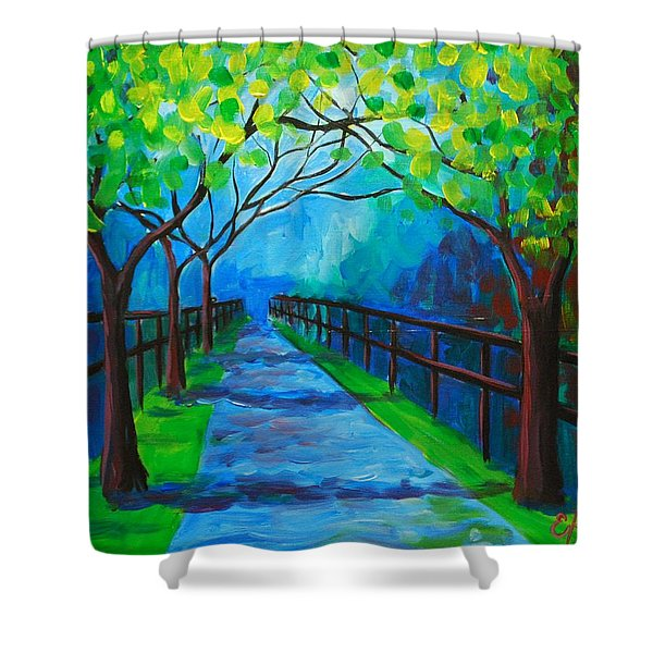 Tree Lined Fence Shower Curtain