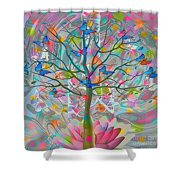 Shower Curtain featuring the digital art Tree Of Life by Eleni Mac Synodinos