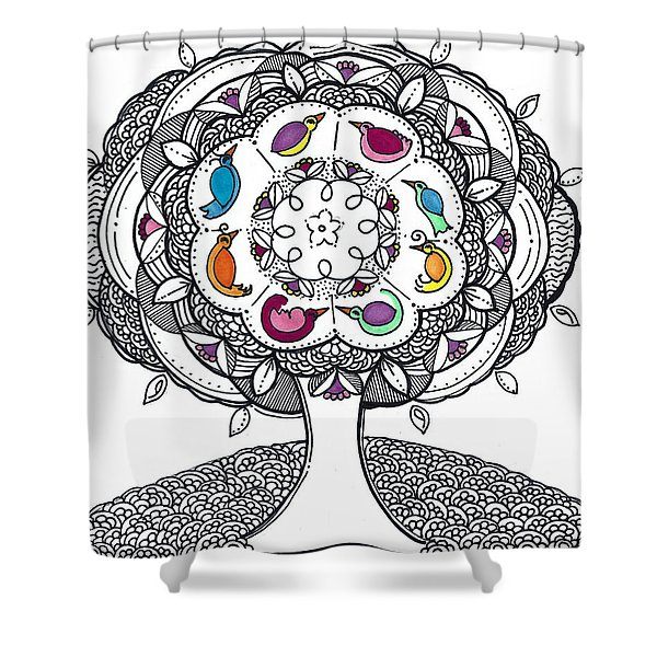 Tree Of Life - Ink Drawing Shower Curtain