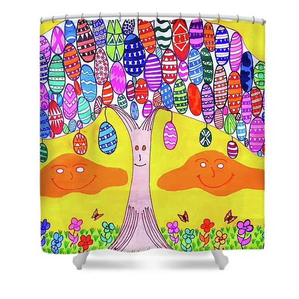 Tree Of The Easter Eggs Shower Curtain