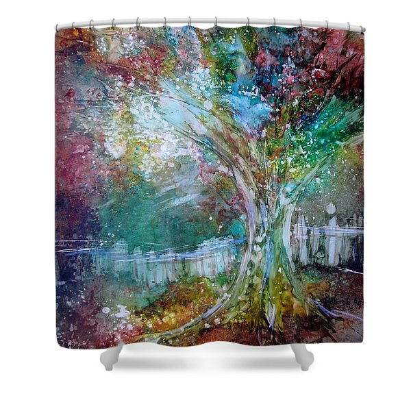 Shower Curtain featuring the painting Tree On Fire by Deborah Nell